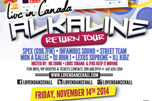 Alkaline Return Tour at Luxy Nov 15 and Oshawa Music Hall Nov 22
