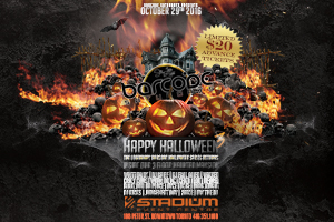 The Legendary Barcode Halloween Series Returns inside our 3 Floor Haunted Mansion Saturday October 29th