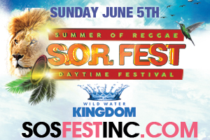 Sunday June 5th at Wild Water Kingdom–S.O.R. (Summer of Reggae) Daytime Festival feat. Elephant Man,Cocoa Tea,Dexta Daps,Wayne Wonder,DeMarco,Junior Reid,Mad Cobra & more! Pre-Sale until April 15th